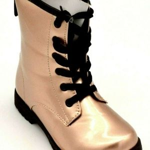 Ositos Glitter Metallic Lace Up Combat Boots New